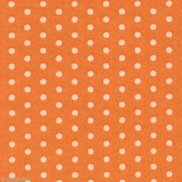 Tissu Frou Frou Douceur mandarine - Pois (209) - A la coupe par 10 cm (sur mesure) - Photo n°1