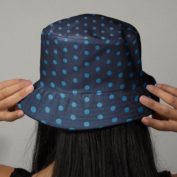 Tissu Frou Frou Bleu intense - Pois (210) - A la coupe par 10 cm (sur mesure) - Photo n°2