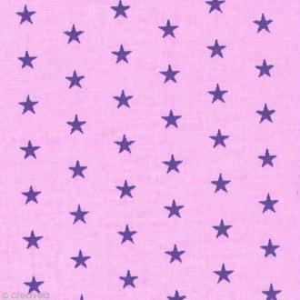 Tissu Frou Frou Lavande rosée - Etoilé (305) - A la coupe par 10 cm (sur mesure)