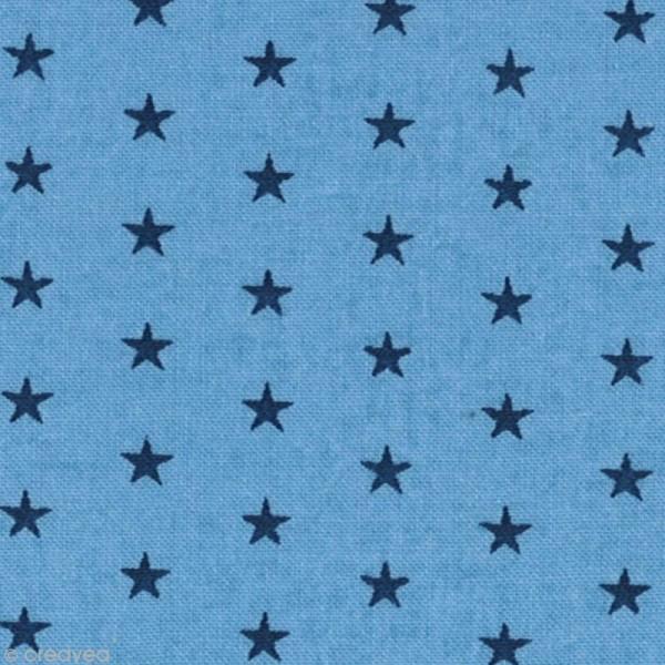 Tissu Frou Frou Bleu intense - Etoilé (310) - A la coupe par 10 cm (sur mesure) - Photo n°1