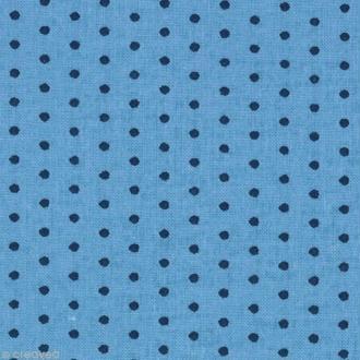Tissu Frou Frou Bleu intense - Points (410) - A la coupe par 10 cm (sur mesure)