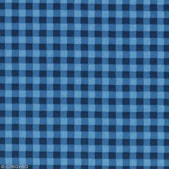 Tissu Frou Frou Bleu intense - Vichy (510) - A la coupe par 10 cm (sur mesure)