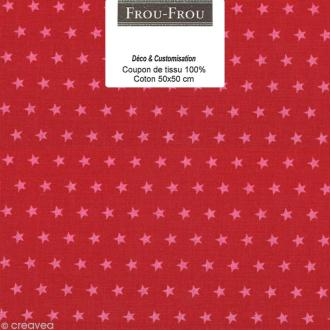 Coupon tissu Frou Frou Rubis éclatant - Etoile (108) - 50 x 50 cm