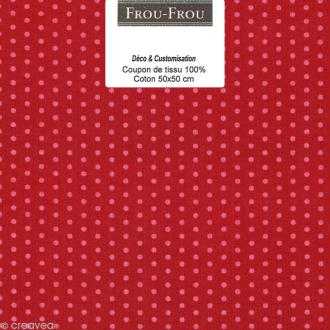 Coupon tissu Frou Frou Rubis éclatant - Pois (208) - 50 x 50 cm