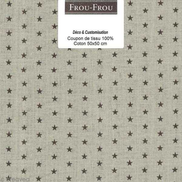 Coupon tissu Frou Frou Taupe - Etoilé (301) - 50 x 50 cm - Photo n°1