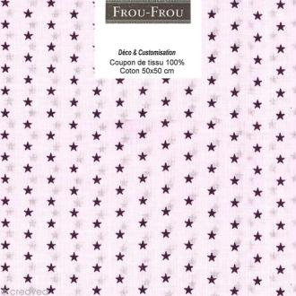Coupon tissu Frou Frou Prune délicate - Etoilé (306) - 50 x 50 cm