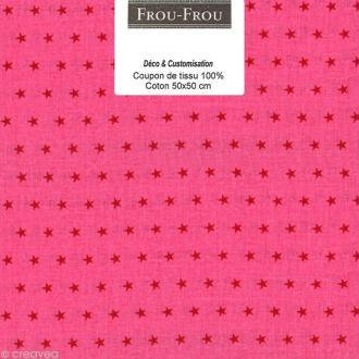 Coupon tissu Frou Frou Rubis éclatant - Etoilé (308) - 50 x 50 cm