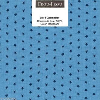 Coupon tissu Frou Frou Bleu intense - Etoilé (310) - 50 x 50 cm