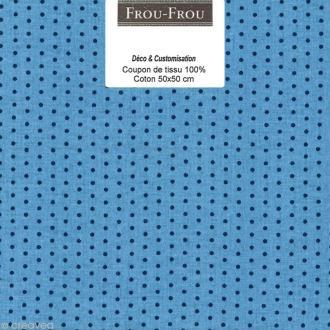 Coupon tissu Frou Frou Bleu intense - Points (410) - 50 x 50 cm