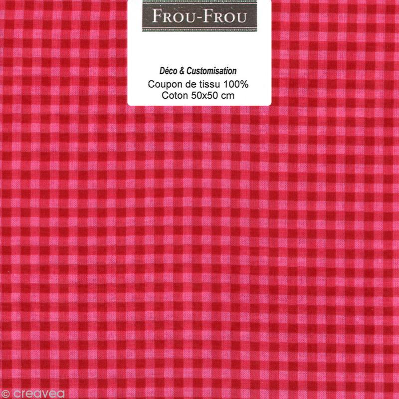 coupon tissu frou frou rubis clatant vichy 508 50 x 50 cm coupon de tissus creavea. Black Bedroom Furniture Sets. Home Design Ideas