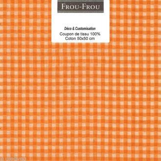 Coupon tissu Frou Frou Douceur mandarine - Vichy (509) - 50 x 50 cm