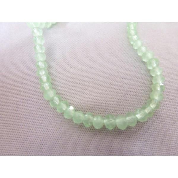 16 Perles Rondes Aplaties À Facettes Vert Clair Opale - 3*4Mm - Photo n°1