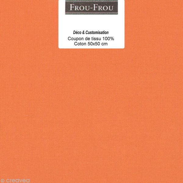 Coupon tissu Frou Frou uni - Douceur mandarine foncé (709) - 50 x 50 cm - Photo n°1