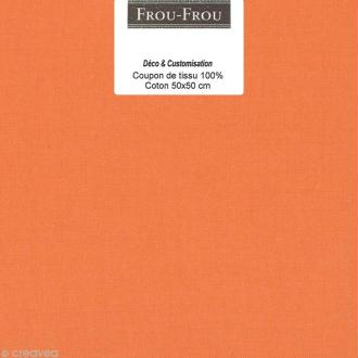 Coupon tissu Frou Frou uni - Douceur mandarine foncé (709) - 50 x 50 cm