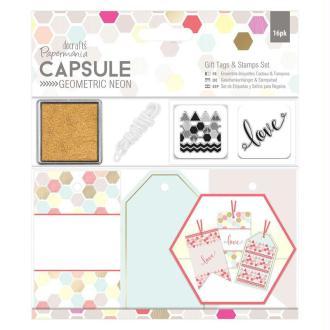 Kit Etiquettes Et Tampons Geometric Neon - Imprimés Géométriques Pastels Et Fluos
