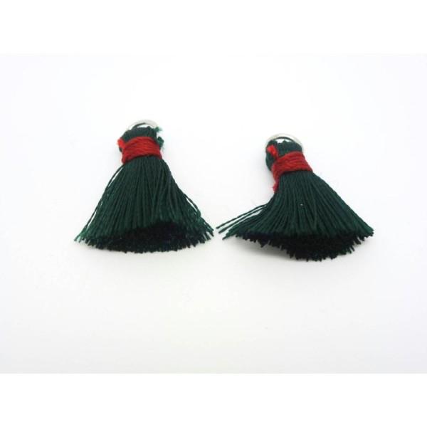 2 Pompons Vert Foncé Et Rouge 22*10Mm Polyester Légèrement Soyeux - Photo n°1