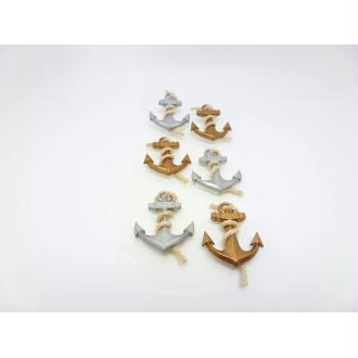 6 Stickers 3D Ancres Marines - Emballages Cadeaux, Embellissements, Scrapbooking, Cartes