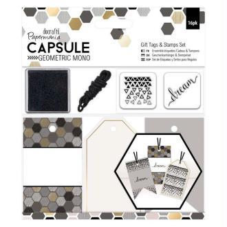 Kit Etiquettes Et Tampons Geometric Mono - Imprimés Géométriques Noir, Gris, Blanc