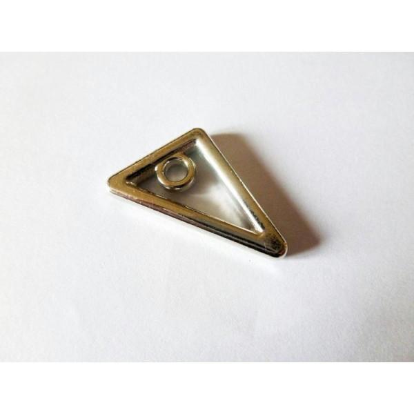 2 Breloques Triangle Géométrique 25*19Mm Argent Vieilli - Photo n°1