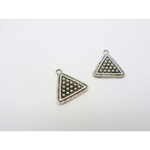 2 Breloques Triangle Texturé - Pendentif Géométrique Argent Vieilli 19*16Mm - Photo n°1