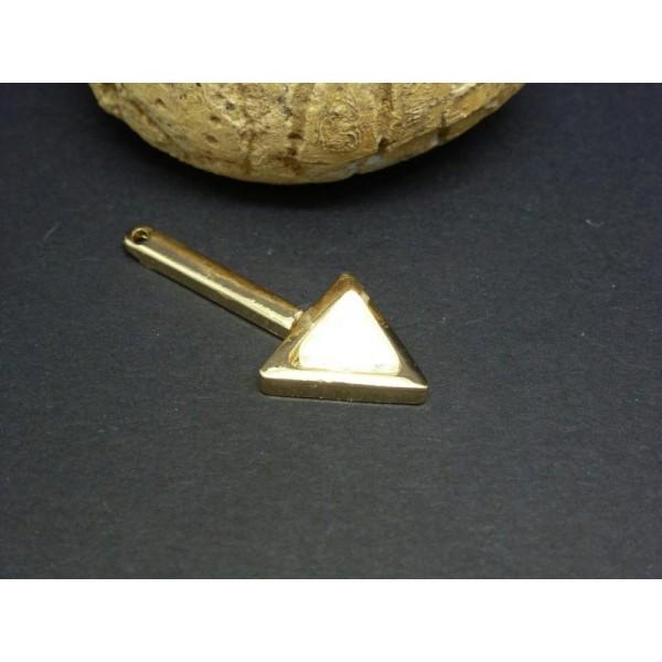 1 Breloque Pendentif Géométrique Flèche Imitation Opale Blanc 30*13Mm Base Dorée - Photo n°1