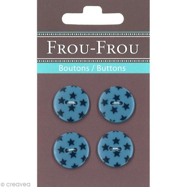 Bouton Frou Frou - 18 mm - Etoilé Bleu intense - 4 pièces - Photo n°1