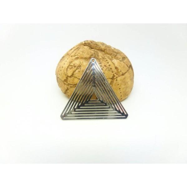 1 Estampe Filigranée Triangle 30Mm Rhodium - Photo n°1