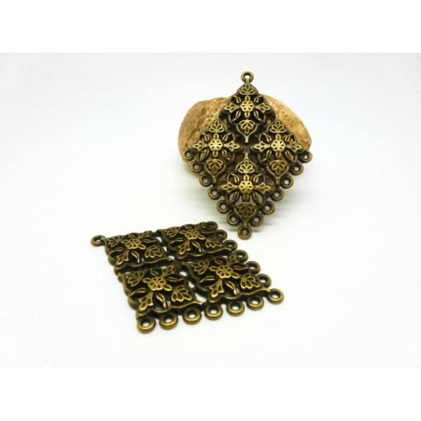 4 Pendentifs Connecteurs Forme Losange Gravé De Fleurs 48*34Mm Bronze - Photo n°1