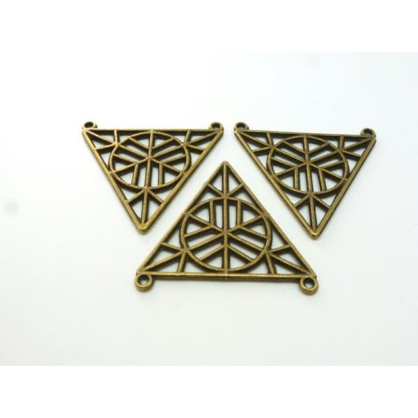 4 Pendentifs Connecteurs Géométriques Triangle Creux 34*32Mm Bronze - Photo n°1