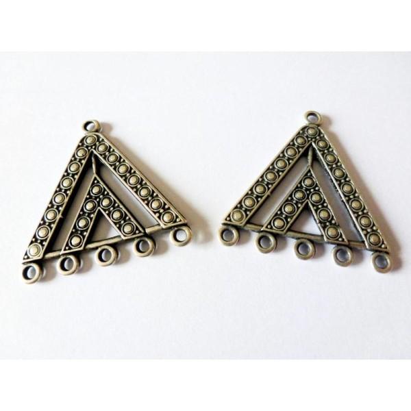 2 Connecteurs Chandeliers Triangle Ethnique  28*29Mm Argent Vieilli - Photo n°1