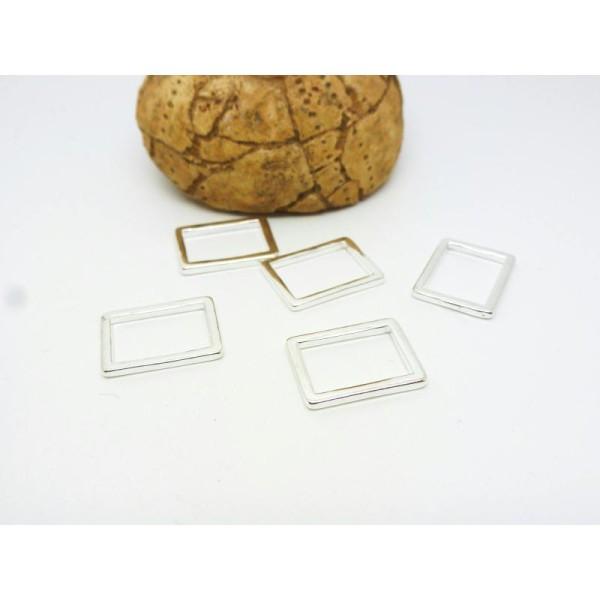 5 Connecteurs Fermés Rectangle Géométrique 15*11Mm Argent Clair - Photo n°1