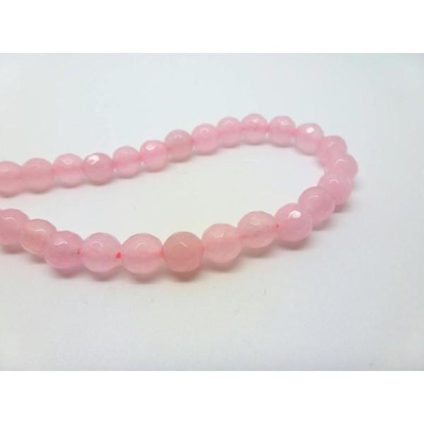 12 Perles De Jade Teintées 6Mm Rose À Facettes - Photo n°1