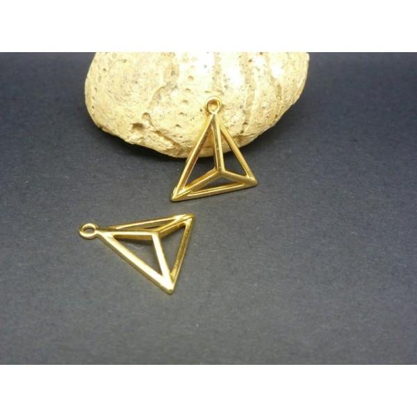 2 Breloques Triangle 3D Géométrique 18*17Mm Zamak Doré - Photo n°1