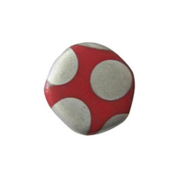 4 Perles Plates 19Mm En Verre Rond Irrégulier Rouge Mat À Pois Argentés - Photo n°1