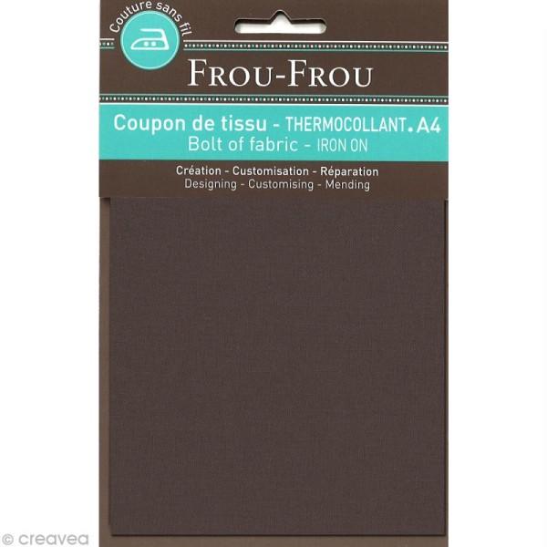 Tissu thermocollant Frou Frou uni - Taupe foncé - A4 - Photo n°1