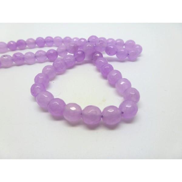 12 Perles De Jade Teintées 6Mm Rose Clair À Facettes - Photo n°1