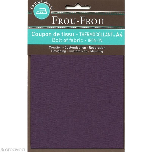 Tissu thermocollant Frou Frou uni - Prune délicate foncé - A4 - Photo n°1