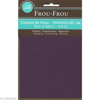 Tissu thermocollant Frou Frou uni - Prune délicate foncé - A4