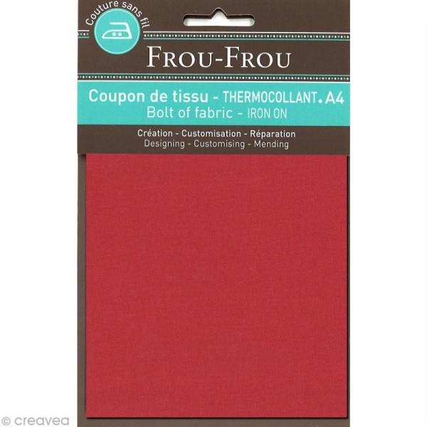 Tissu thermocollant Frou Frou uni - Rubis éclatant foncé - A4 - Photo n°1