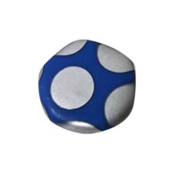 4 Perles Plates 19Mm En Verre Rond Irrégulier Bleu Foncé Mat À Pois Argentés - Photo n°1