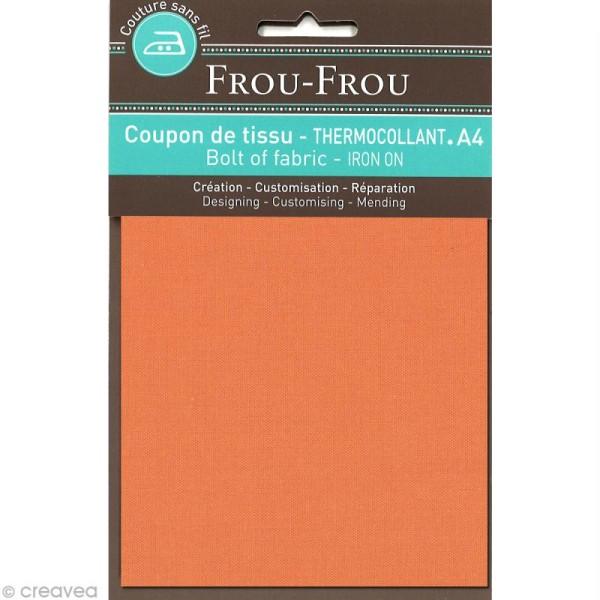 Tissu thermocollant Frou Frou uni - Douceur mandarine foncé - A4 - Photo n°1