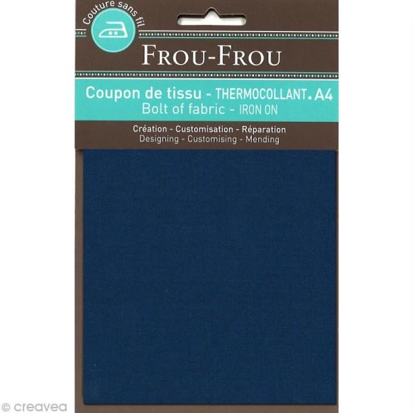 Tissu thermocollant Frou Frou uni - Bleu intense foncé - A4 - Photo n°1