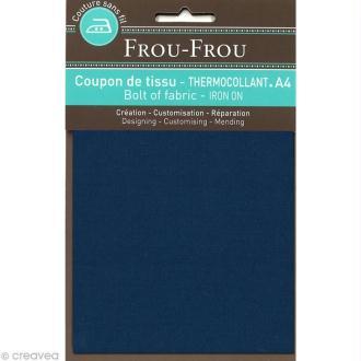Tissu thermocollant Frou Frou uni - Bleu intense foncé - A4