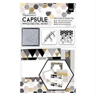 Kit Mini Cartes Et Tampons Geometric Mono - Imprimés Géométriques Noir, Gris,Blanc
