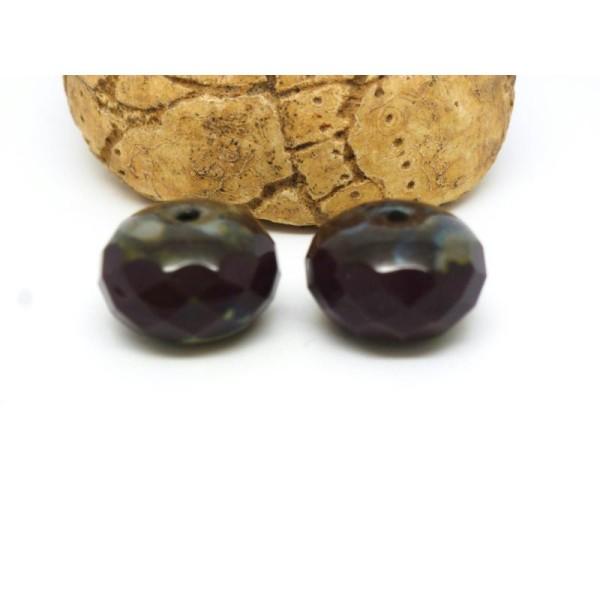 2 Perles Verre De Bohême Chocolat 14*8Mm Forme Potiron À Facettes - Photo n°1