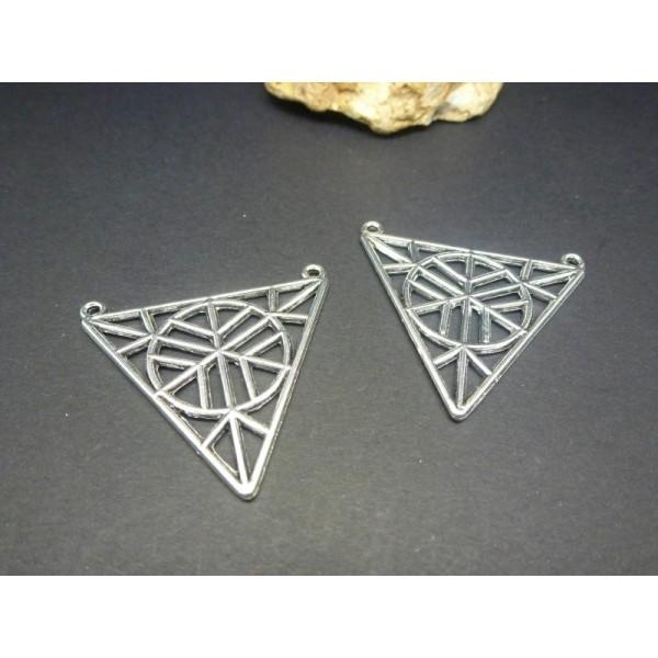 4 Pendentifs Connecteurs Géométrique Triangle Creux 34*32Mm Argent Vieilli - Photo n°1