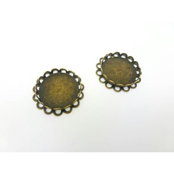 2 Supports Dentelés Pour Cabochons Ronds De 18Mm - Couleur Bronze 23Mm - Photo n°1