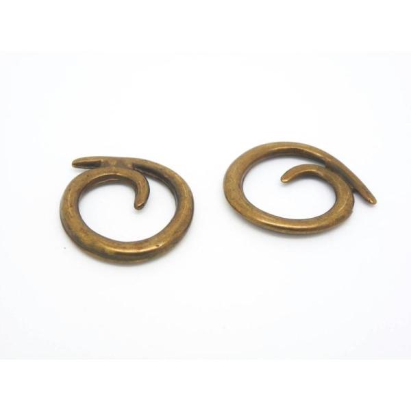 2 Breloques Ou Connecteurs Ethniques Spirale Escargot 20Mm Métal Bronze - Photo n°1