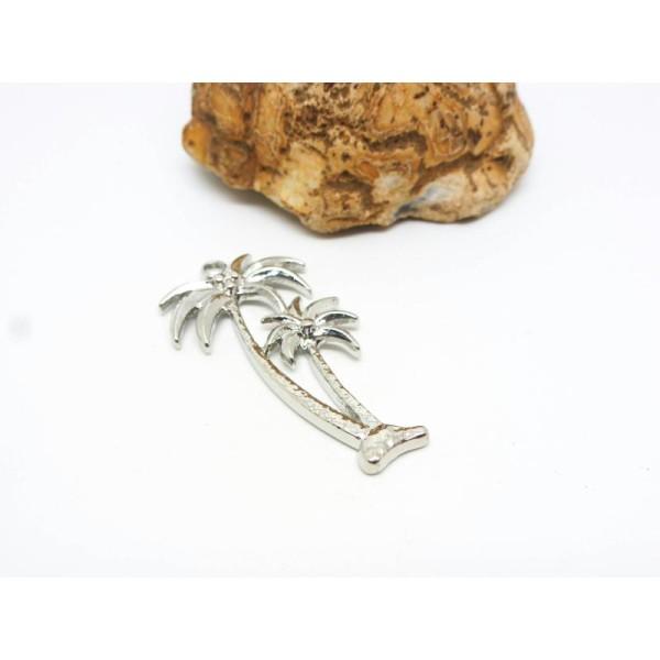 1 Pendentif Palmier 35*19Mm Arbre Tropical Argent Mat - Alliage De Zinc - Photo n°2