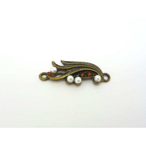 Connecteur Fantaisie Style Rétro Art Déco 30*12Mm - Laiton Bronze Perles Blanches Strass Topaze - Photo n°1